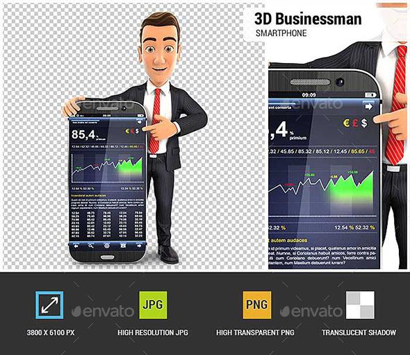 3D Businessman Statistics Smartphone - Characters 3D Renders