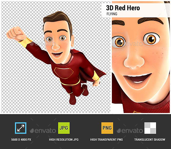 GraphicRiver 3D Red Hero Flying 20910661