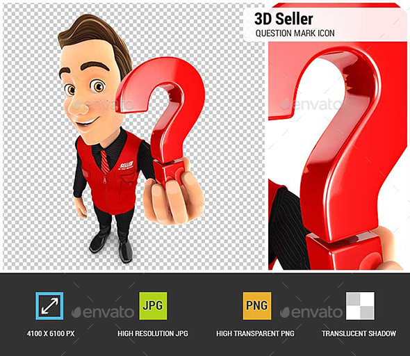 3D Seller Holding a Question Mark Icon - Characters 3D Renders