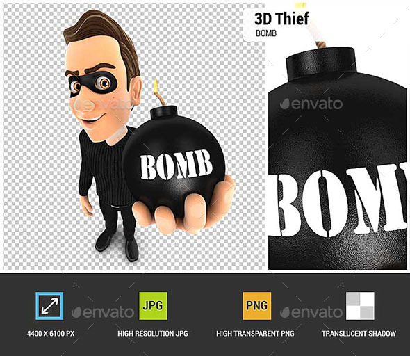 GraphicRiver 3D Thief Holding a Bomb 20910690