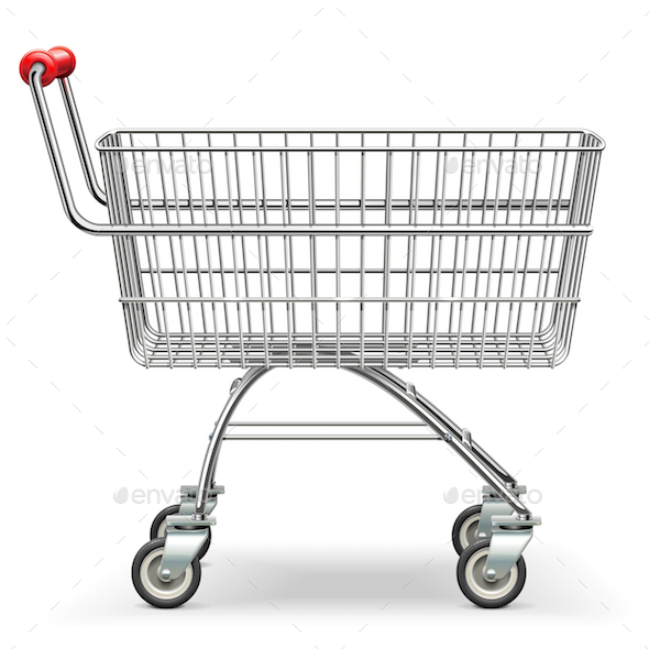Vector Empty Supermarket Trolley - Retail Commercial / Shopping
