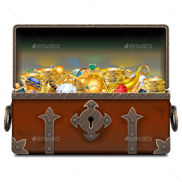 Vector Old Pirate Forged Chest with Gold - Miscellaneous Vectors