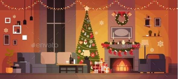 Living Room Decorated For Christmas and New Year - Christmas Seasons/Holidays