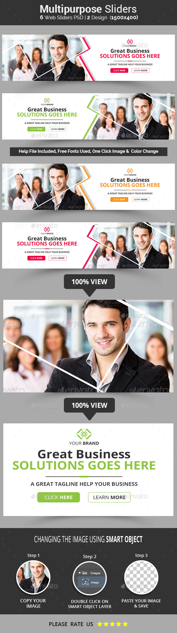 Multipurpose Business Sliders - Sliders & Features Web Elements