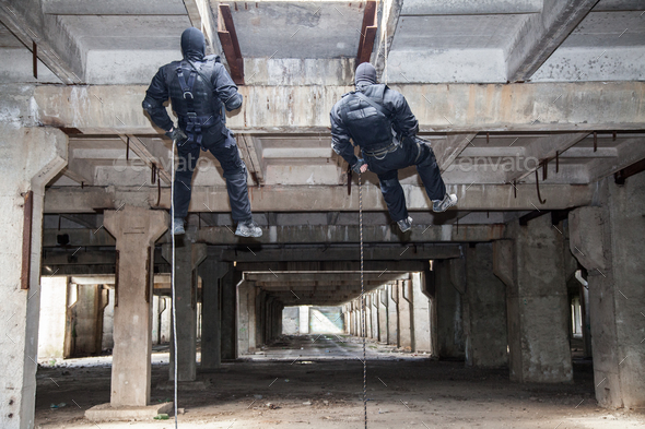 assault rappeling - Stock Photo - Images