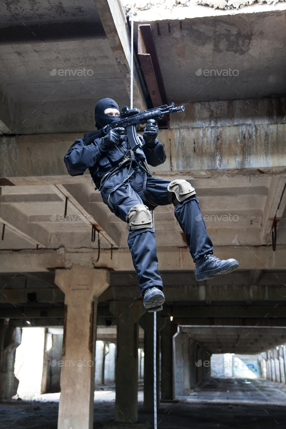 rappeling assault - Stock Photo - Images