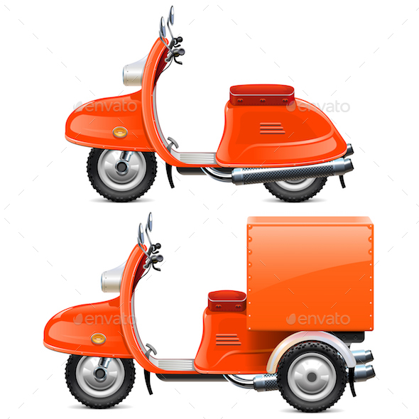 Vector Orange Scooters - Industries Business