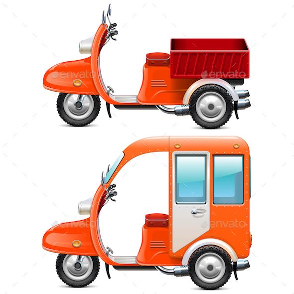 Vector Orange Scooters Set 2 - Industries Business