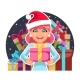 Christmas Cartoon Girl Holds Gift Box in Hands