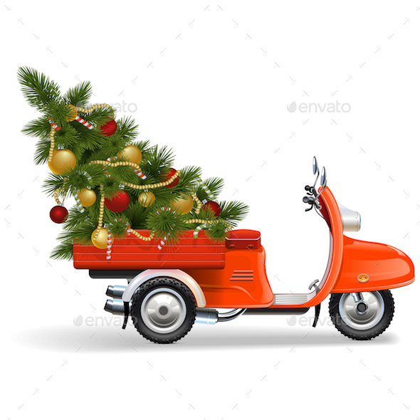Vector Orange Scooters with Christmas Tree - Christmas Seasons/Holidays