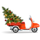 Vector Orange Scooters with Christmas Tree - GraphicRiver Item for Sale