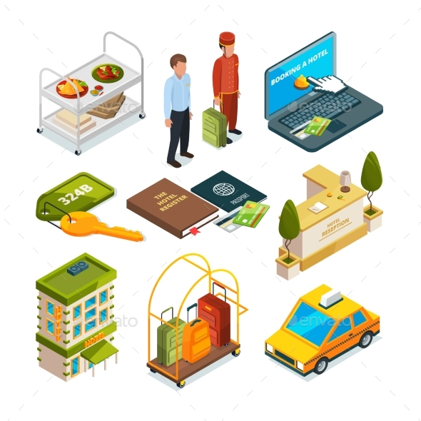 Hotel Reception, Isometric Set of Motel Services - Objects Vectors