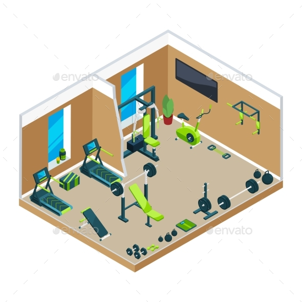 GraphicRiver 3D Isometric Illustrations of Gym 20911870