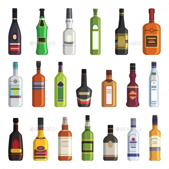 Liqueur Bottles - Man-made Objects Objects