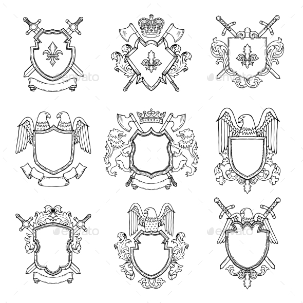 Template of Heraldic Emblems for Different Design - Web Elements Vectors