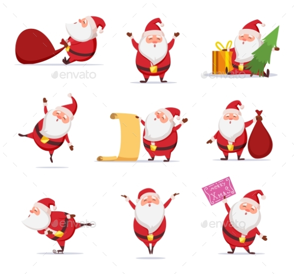 Christmas Symbols of Santa. - People Characters