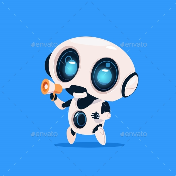 GraphicRiver Robot Holds Megaphone 20911946