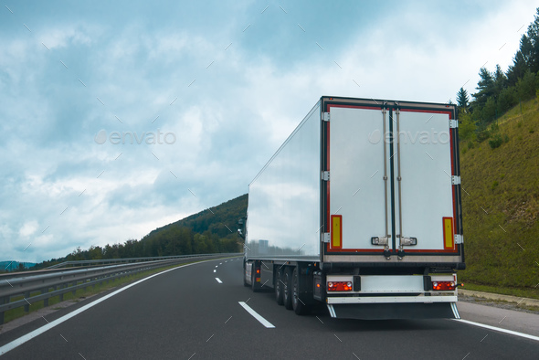 Semi truck with trailer - Stock Photo - Images