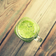 Close up of green fresh smoothie on old wooden dark background - PhotoDune Item for Sale