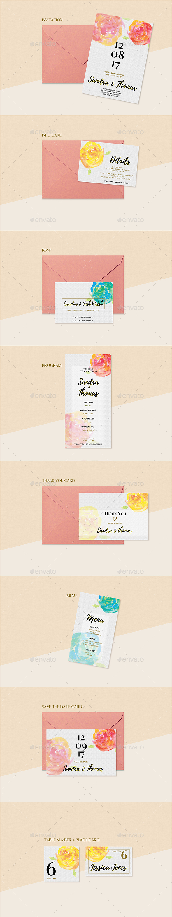 GraphicRiver Floral Wedding Invitation Set 20912145