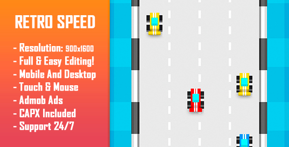 CodeCanyon Retro Speed HTML5 Game & Mobile Version Construct-2 CAPX 20912153