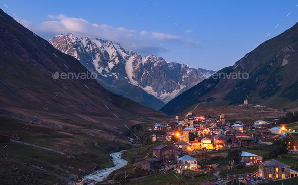 Mountain landscape at dusk, village Ushguli in Svaneti, Georgia - Stock Photo - Images