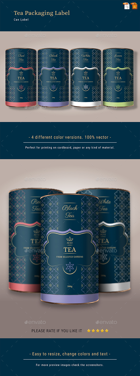 Tea Packaging Label - Packaging Print Templates