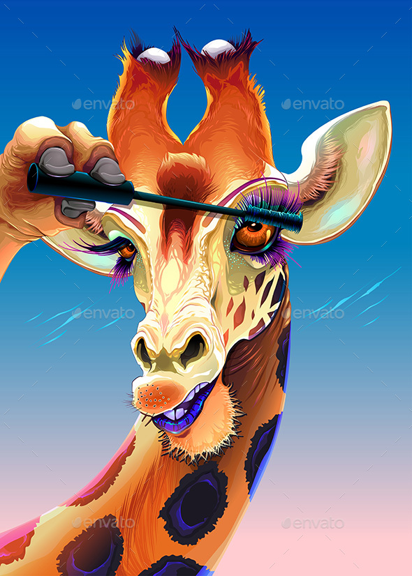 GraphicRiver Giraffe is Applying the Mascara on her Eyelashes 20912307