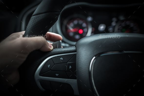 Car Driving with Paddle Shifter - Stock Photo - Images