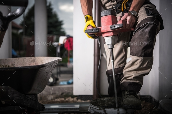 Contractor with Fusion Mixer - Stock Photo - Images