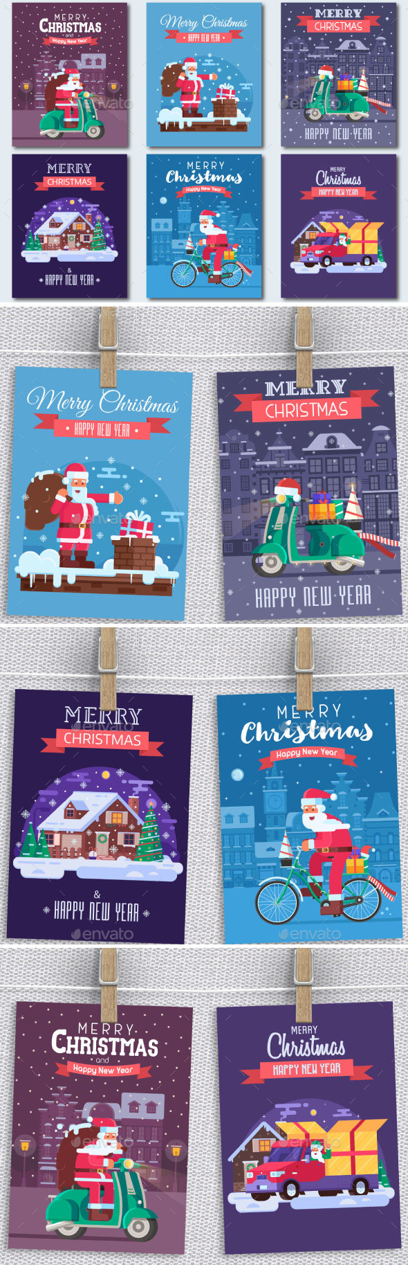 Christmas Cards Set with Santa Delivering Gifts - Vectors