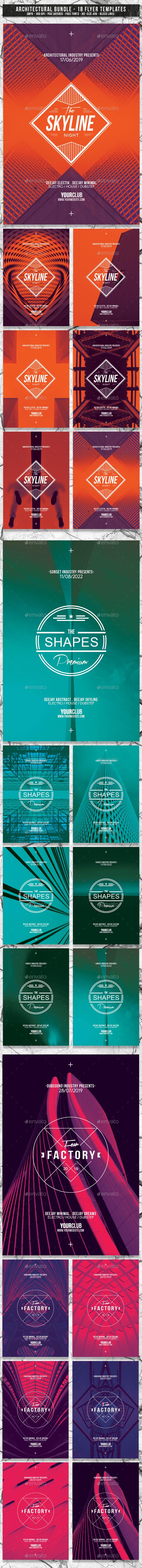 Architectural Bundle | 18 Premium Flyer PSD Templates - Events Flyers
