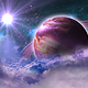 Flying Through Abstract Purple Clouds in Space and Planet with the Shine Star - VideoHive Item for Sale