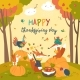 Animals Celebrating Thanksgiving Day