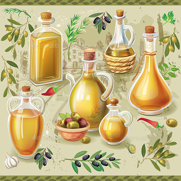 GraphicRiver Set of Bottles with Oive Oil 20913087