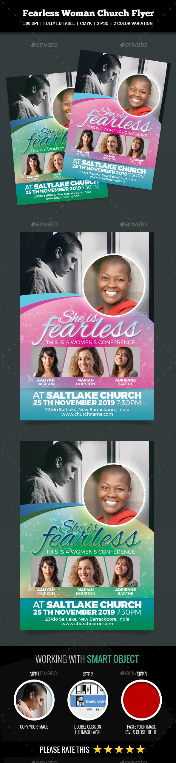 GraphicRiver Fearless Woman Church Flyer 20913342