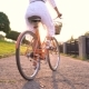 Young Beautiful Woman Standing Near Her Bicycle at Sunset. - VideoHive Item for Sale