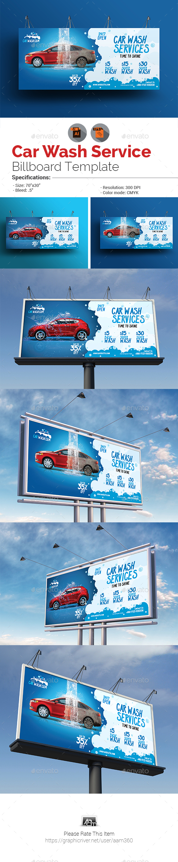 GraphicRiver Car Wash Billboard 20913639