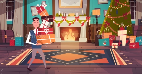 Man Holding Pile of Gift Boxes in Living Room - Christmas Seasons/Holidays