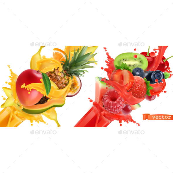 Sweet Tropical Fruits and Mixed Berries - Food Objects