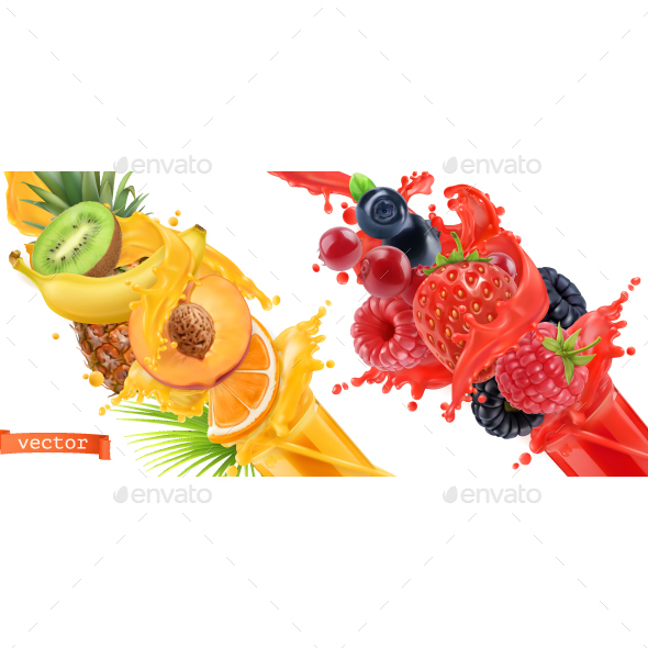 GraphicRiver Tropical Fruits and Mixed Forest Berries 20913808