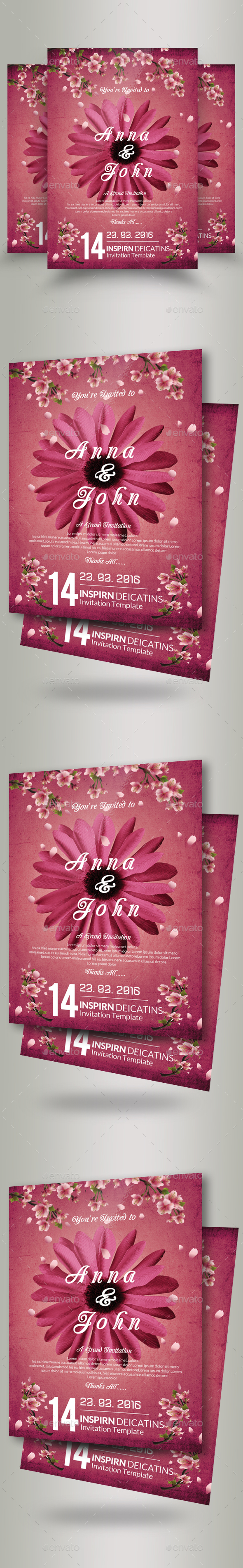 Wedding Invitation Flyer Template - Flyers Print Templates