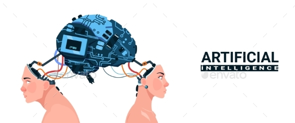 Male and Female Heads with Modern Cyborg Brain - Computers Technology