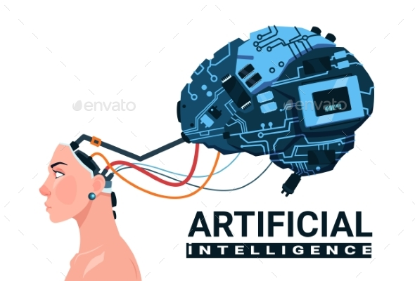 Female Head With Modern Cyborg Brain - Computers Technology