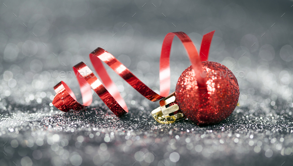 Christmas background with red decorations - Stock Photo - Images