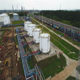 Flycam Moves above Petrochemical Tanks on Oil Company Territory - VideoHive Item for Sale
