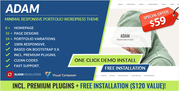 ADAM - Minimal Responsive Portfolio WordPress Theme - Creative WordPress