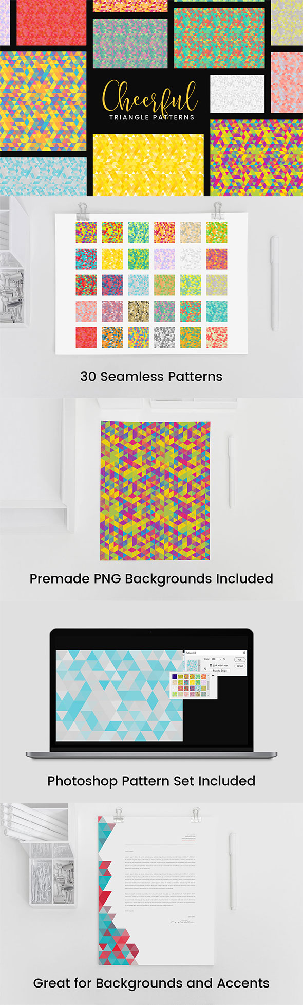 30 Cheerful Triangle Patterns - Abstract Textures / Fills / Patterns