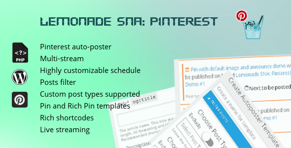 Download Source code              Lemonade Social Networks Autoposter: Pinterest            nulled nulled version