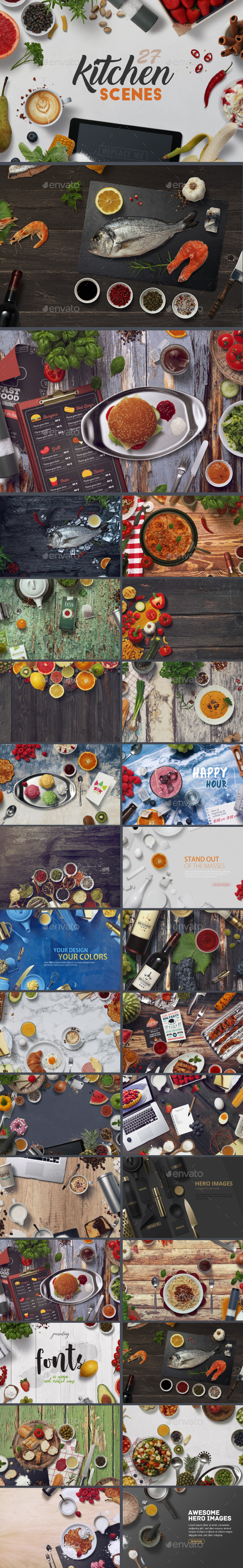 GraphicRiver 27 Kitchen Scenes 20914378